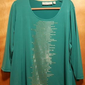 Turquoise 3/4 Sleeve Blouse with Gold Metal Decal